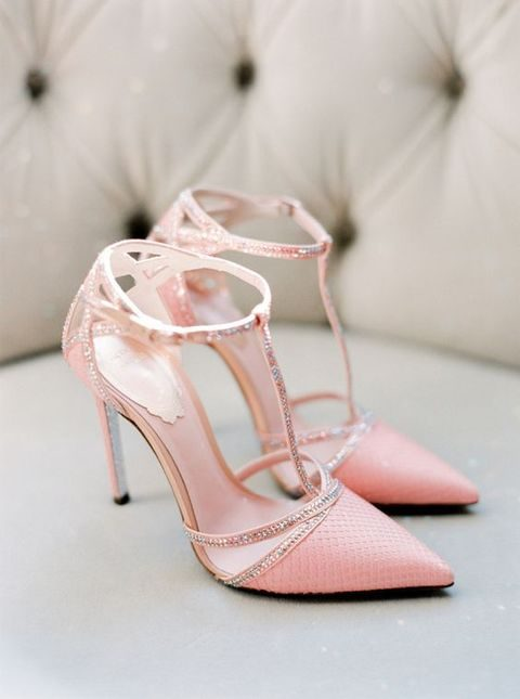 pink and sparkly strap wwedding shoes