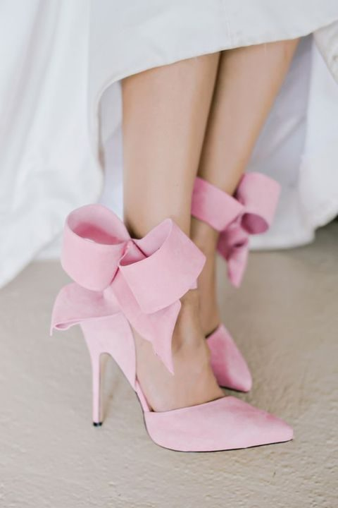 pink bow heels