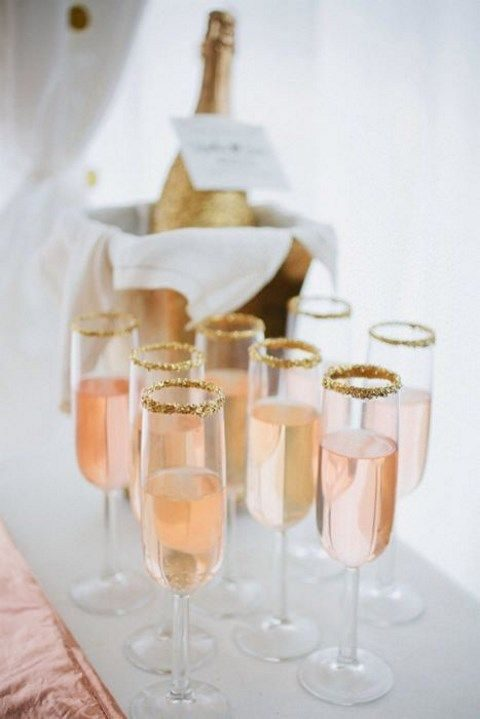 pink champagne and glittered hem glasses