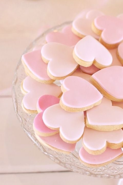 pink heart shaped cookies