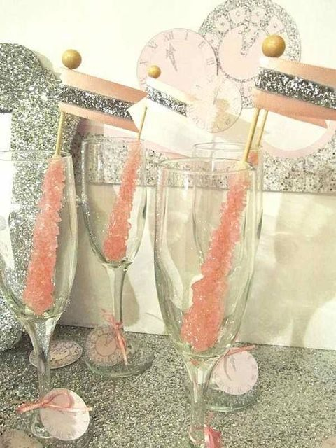 pink rock candy champagne stirrers