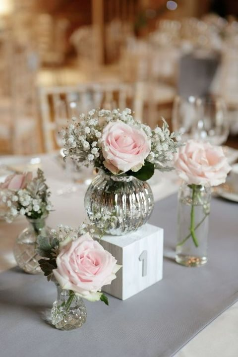 pink roses in mercury glass for centerpieces