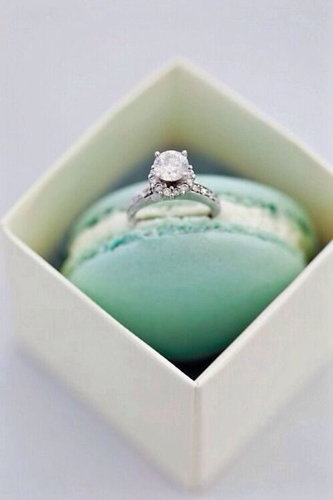 propose with a macaron and a wedding ring in it