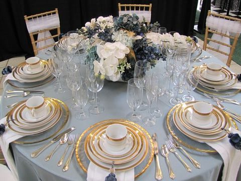 refined dusty blue and gold tablescape