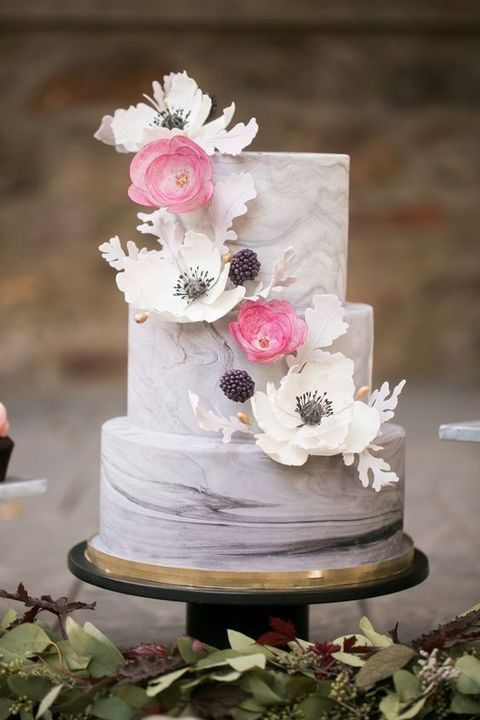 romantic marble cake with various flowers