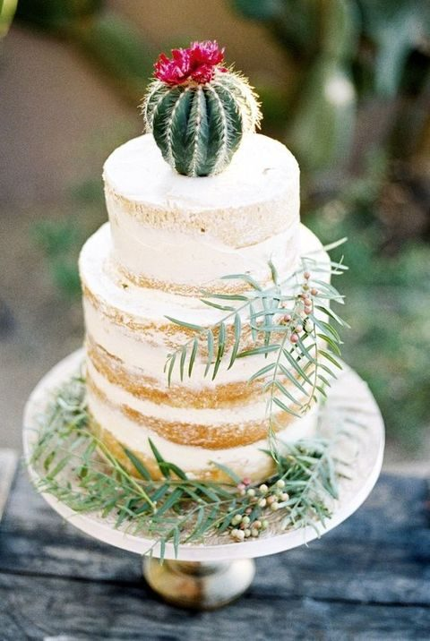 semi naked cake topped with a cactus