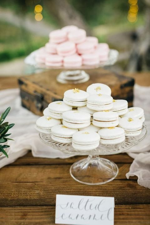 serve various types of macarons as desserts