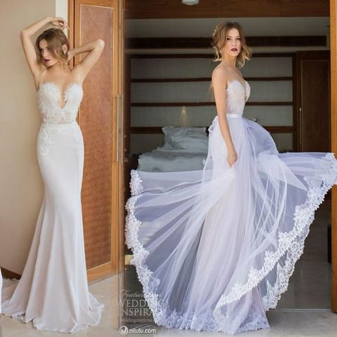 Y Plunging Neckline Wedding Dress With A Tulle Detachable Skirt