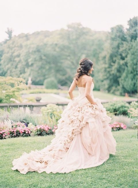 strapless blush ball gown by Vera Wang