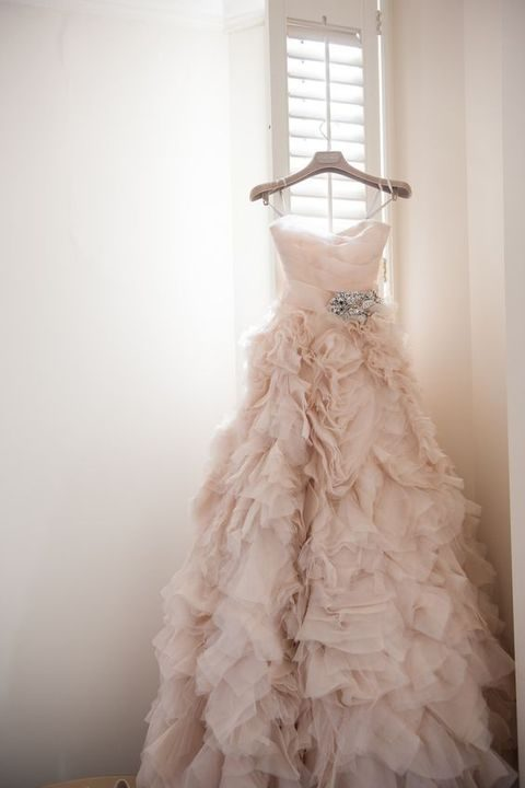 strapless blush ruffle wedding dress