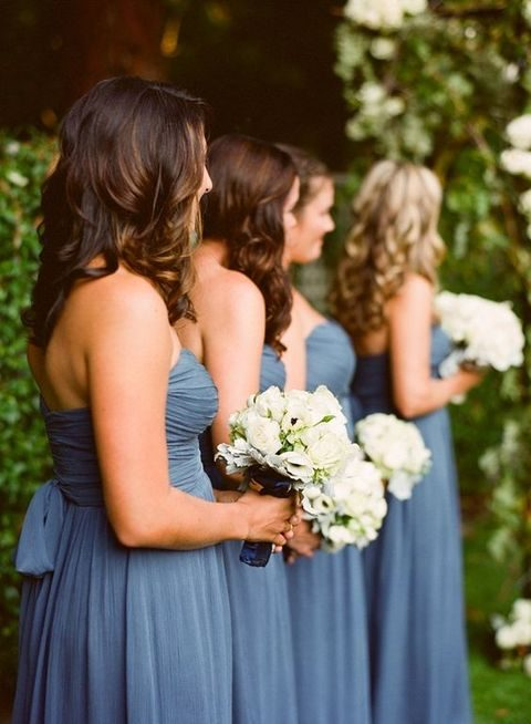 strapless grey chiffon bridesmaids' dresses
