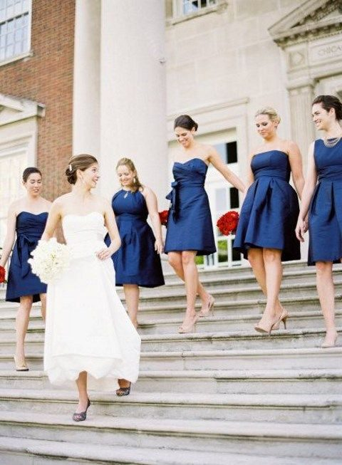strapless navy knee-length bridesmaids' gowns