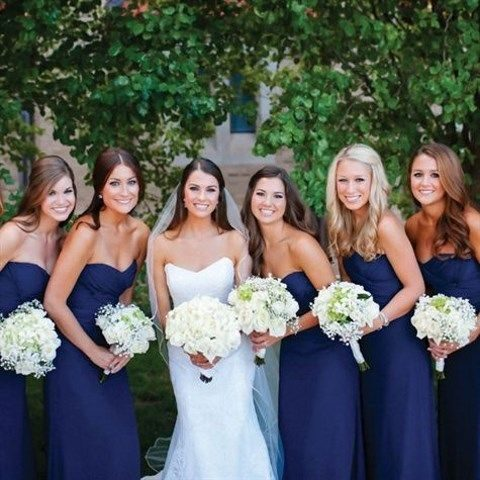 strapless navy mermaid gowns