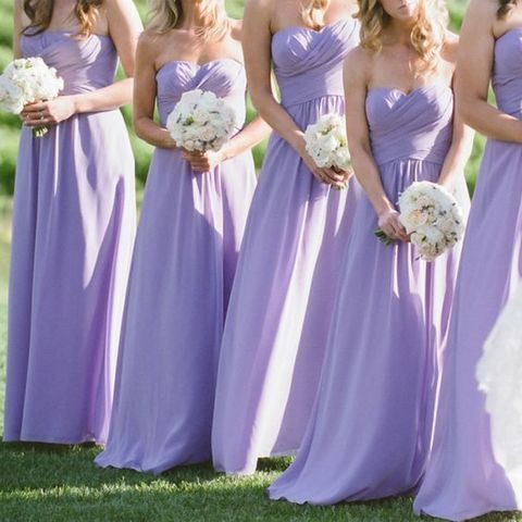 sweetheart lavender bridesmaids' dresses