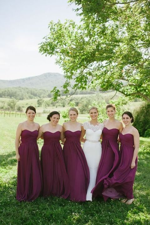 sweetheart plum bridesmaids' gowns