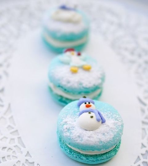 turquoise macarons topped with snowmen