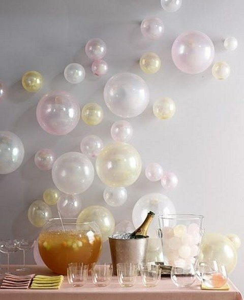 whimsical balloon wall decor for the drink table