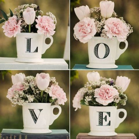 LOVE mugs with blush flowers can be cool centerpieces