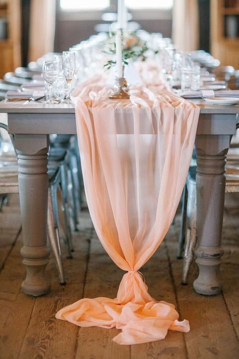 airy peach chiffon table runner