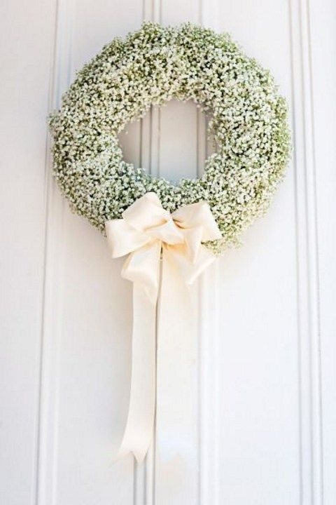 baby's breath wreath with an ivory wreath