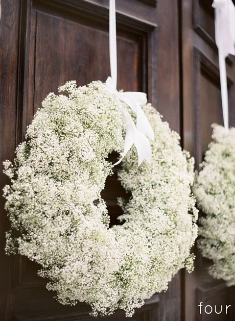 baby's breath wreath with white ribbon