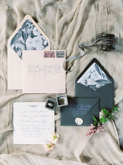 beige and black stationary, envelopes with floral lining
