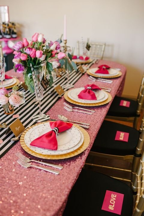 black and white with pink and gold infusions for decor