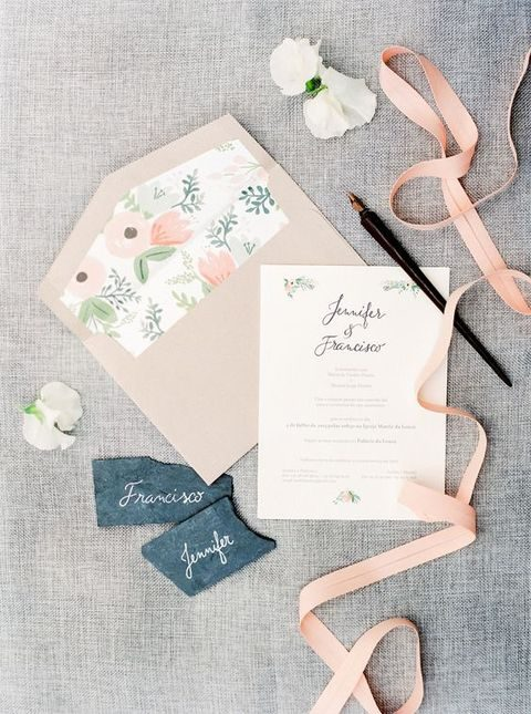 blush and floral stationery