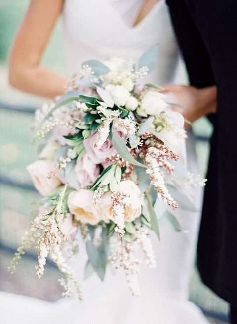 blush and ivory cascading bridal bouquet