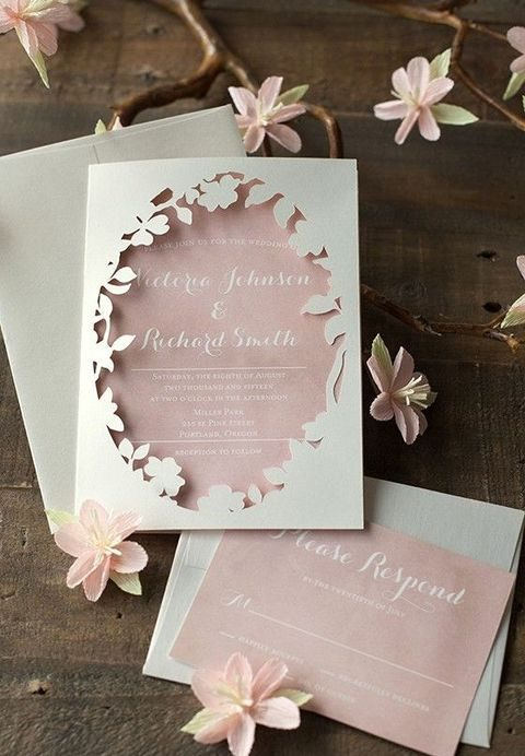 blush and ivory laser cut wedding stationery