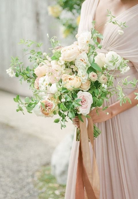 blush dress and a textural neutral bouquet with greenery