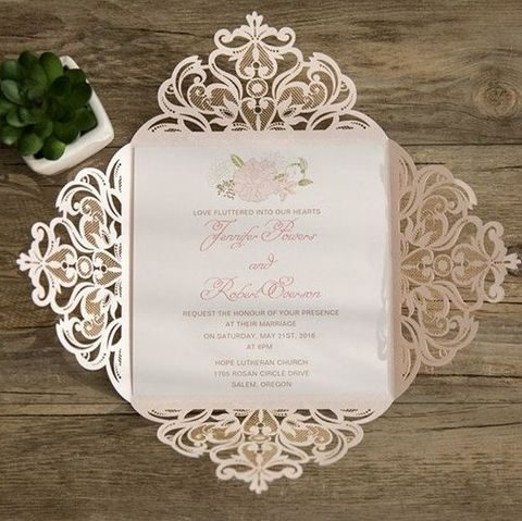 blush floral laser cut stationery