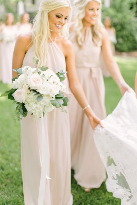 blush halter neckline bridesmaids' dresses