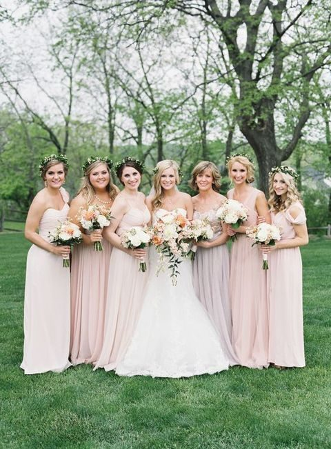 blush mix-and-match bridesmaids' dresses