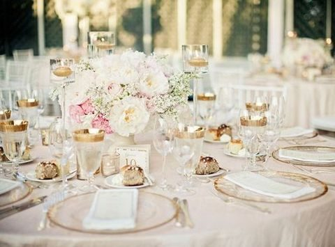 blush table setting with gold accents