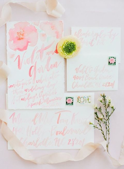 blush watercolor stationary