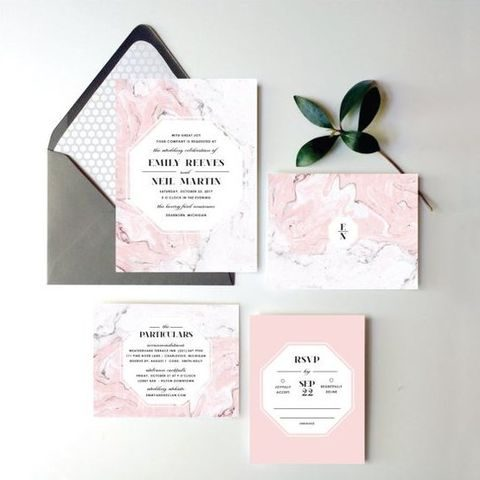 blush watercolor wedding stationery in dark envelopes