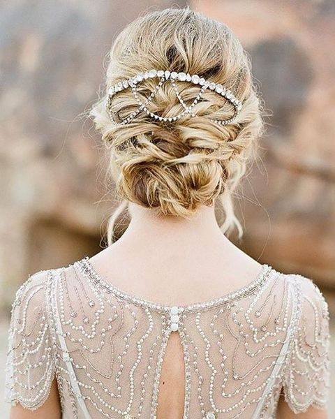 boho chic twisted updo with chain and beads