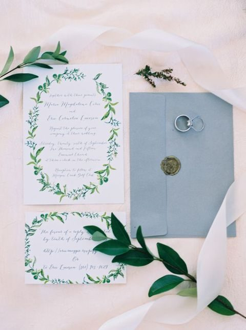 botanical stationary and blue envelopes
