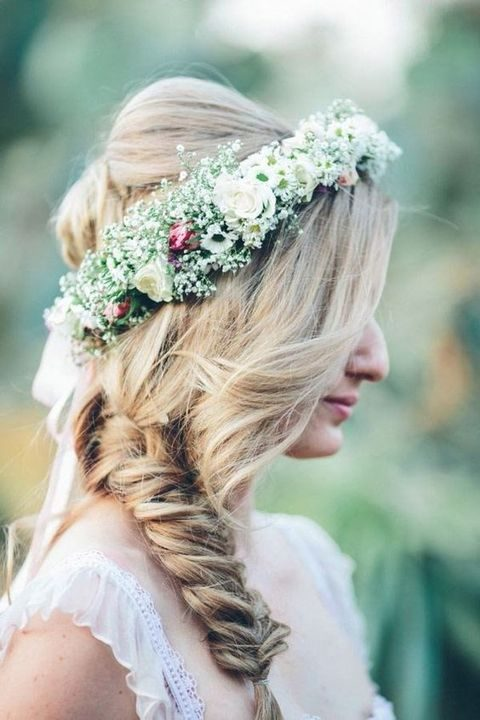 braided hairstyle with a cute floral crown