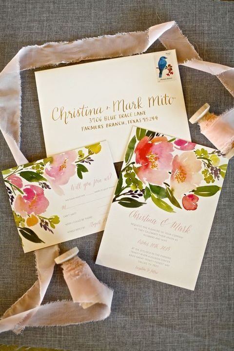 colorful floral invites