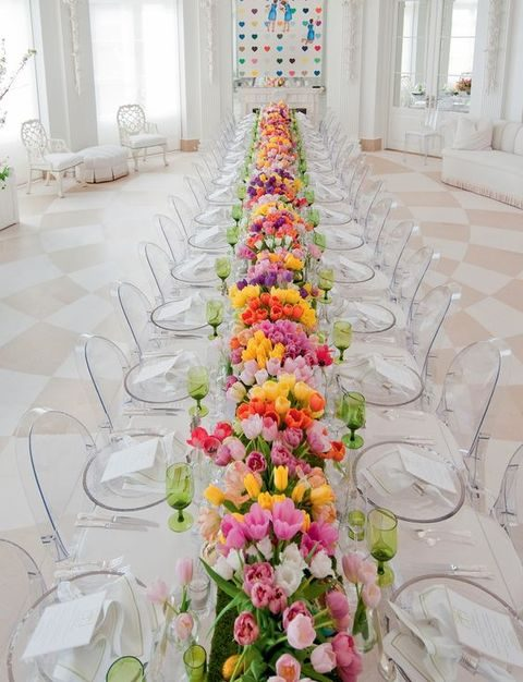 colorful lush tulips for the table runner