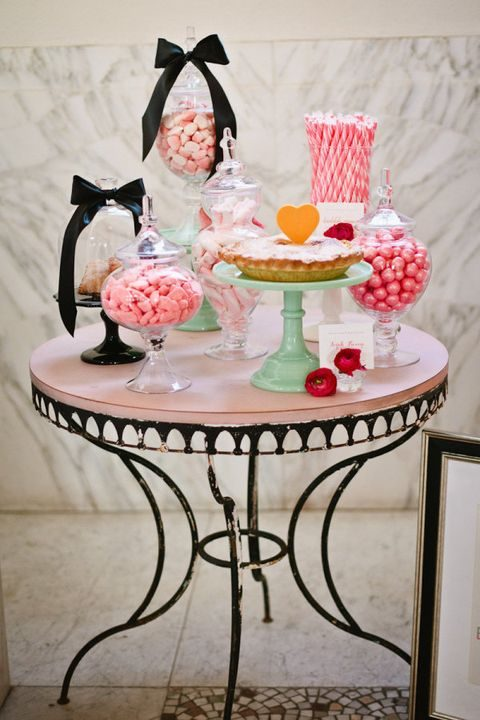 cute pink and black dessert table
