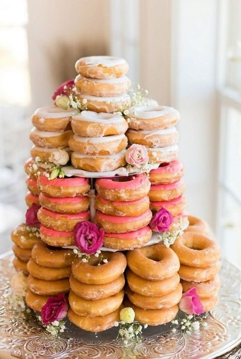 donut tower with flowers