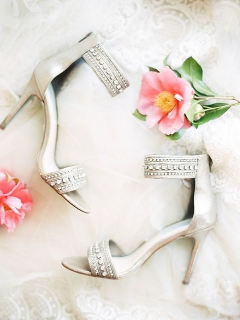 embellished neutral wedding shoes