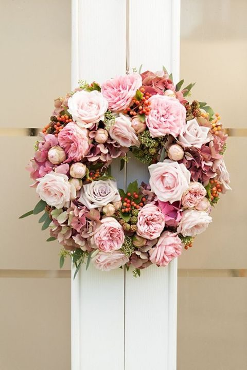 flower and berries wreath in pastel shades