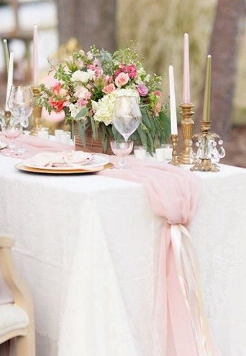 flowy blush table runner