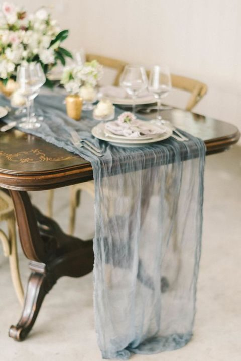 flowy sheer grey table runner