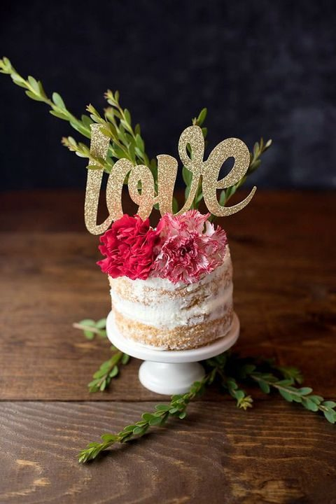 glittered LOVE cake topper for a small cake
