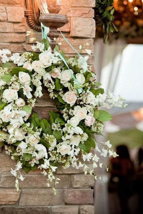 green leaves and blush roses wreath
